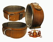 The Roch, double 3 inch, triple layer leather dog collar