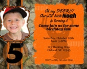 Camo Hunting Invitation Photo Birthday Party Printable Orange Hunter Camouflage Buck Deer