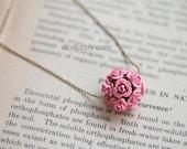 Flower  necklace   Vintage style  Golden  chain ,PINK  ROSE , metal  bouquet  pendant ,  Pretty    Necklace N10-01