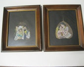 Ancient India Sacred Ficus Fig Leaf Art Handpainted Oil Paintings Framed Set of 2 Unique and Beautiful Art in Vintage Wood Frames and Glass
