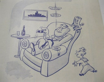U.S. Navy Comical 1940s Discharge Phamplet The Last Word on Life Insurance for Men Discharged From the Navy With Lots of Funny Character Art