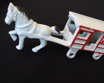 Antique Cast Iron Horse Drawn Milk Cart Gift for Him Farm Equipment Patina Vintage Wagon 103