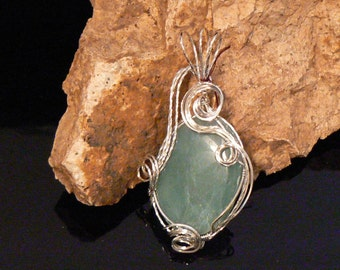 Beautiful green aventurine gemstone wrapped in sterling silver