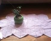 "Handmade vintage crocheted cotton rug 44"" x 23"""