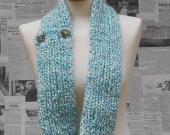 Seafoam Infinity Scarf with Seashell Buttons