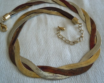 Tri color triple strand  sliver, copper and brass woven braid necklace