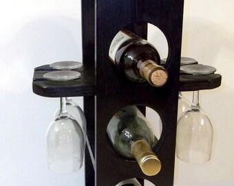 Unique wine rack stemware rack in Satin Black finish is Handmade
