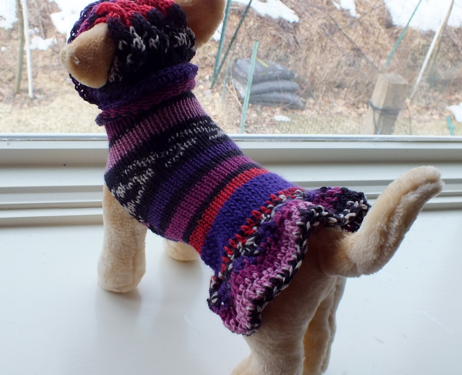 Knitting Pattern For Small Dog Hat : Dog Sweater and Hat Hand Knit XX Small 11 inches long merino