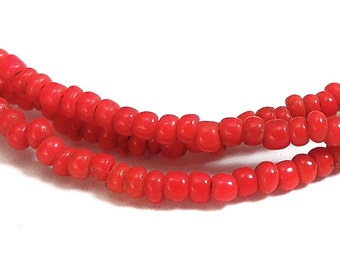 2 Strands Seed Trade Beads Red Tiny African 77266