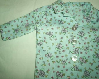 Blue flowered pajamas for 18 inch doll american girl
