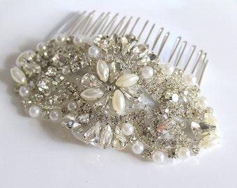 Bridal beaded pearl & crystal luxury headpiece. Rhinestone applique wedding hair comb. DUCHESS PEARL PETITE