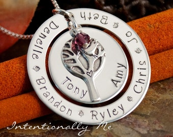 Hand Stamped Mommy Necklace - Personalized Jewelry - Sterling Silver Family Tree Pendant - A Big Happy Family
