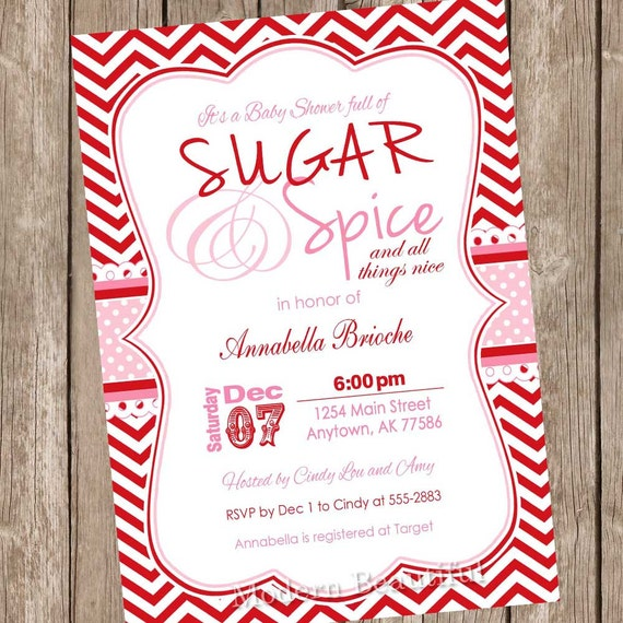 Sugar And Spice Baby Shower: Items Similar To Christmas Baby Shower Invitation Sugar