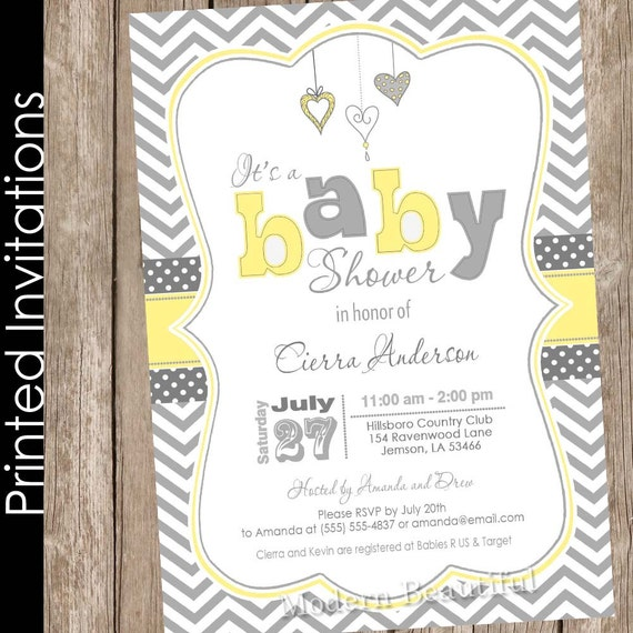 Printed neutral yellow and grey baby shower invitation chevron il570xn filmwisefo