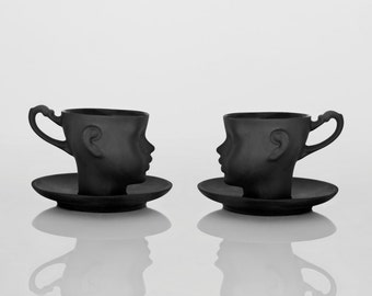 Porcelain doll head cups in black with saucers- whimsical set of black ceramic artisan mugs, for coffee or tea