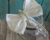 Girl Ivory bow sparkle crystal couture headband with pearls and gold detail  for newborn toddler child girl or adult