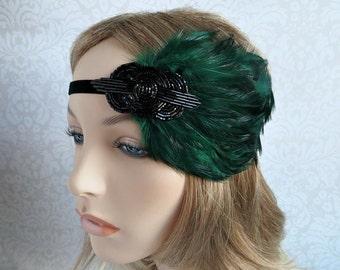 Green Gatsby Headband, Green Feather Black Beaded Fascinator, 1920s Hair Accessories, Gatsby Wedding, Flapper Headband