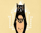 "Silkscreen Guru Cat Print 5x7"" Limited Edition of 9 Black and Pink"