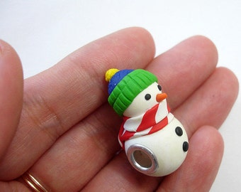 ON SALE - The Original European style large Hole Snowman Bead Charm ,Made to order
