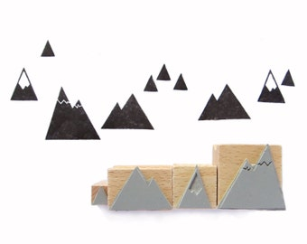 4 rubber stamps - MOUNTAINS