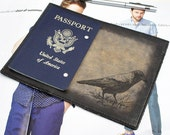 Passport Leather Cover - Crow - Customizable - Free Personalization