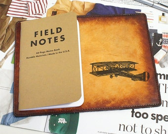 Field Notes Leather Cover - Vintage Plane - Customizable - Free Personalization