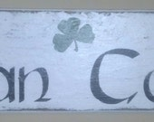 Vintage Styled Irish Man Cave w/ Shamrock Accent - White