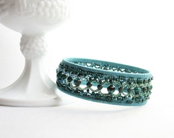 Turquoise Tatting Beaded Bangle Bracelet Cotton Thread Fiber