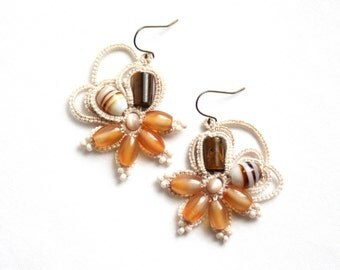 Linen Amber Flower Style Dangle Fiber Beaded Tatting Lace Earrings