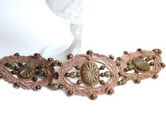 Mocha Beige Beaded Czech Glass Beads Tatting Lace Fiber Bracelet