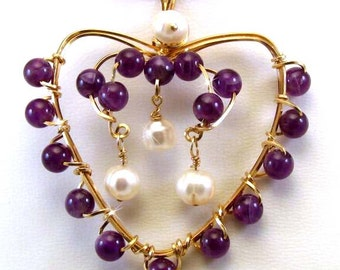 Amethyst and Fresh Water Pearl Heart Pendant - 14K Gold filled  SRAJD Ready to Ship