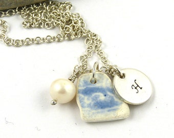 Personalized Beach Pottery Necklace - Handstamped Sterling Silver