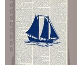 Sail Boat SILHOUETTE3 ORIGINAL ARTWORK  printed on Repurposed Vintage Dictionary page -Upcycled Book Print