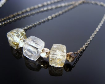 Rulated Quartz and Green Amethyst Cubes Sterling Silver Necklace
