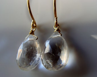 Crystal Quartz Briolette 14 K Gold Filled Earrings