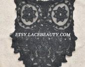 Big Black Lace Appliques Cotton Embroidered Owl Tulle Patch 1 pcs