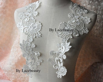 White Lace Appliques Venice Lace Flower Collars Corsage Costome Decor Lace Patches 1 pair