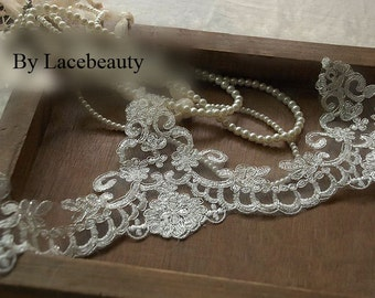 1 Yard Ivory Alencon Lace With Silver Thread Luxury Wedding Lace Trim Embroidered Retro Lace 4.5 Inches Wide