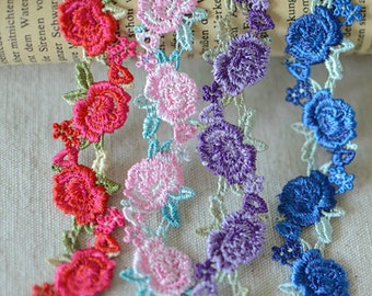 Lovely Venice lace Rose Embroideried Lace Trim 0.78 Inches Wide 3 Yards