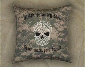 "ACU infantry pillow "" Si vis pacem para bellum "" 14x14 inch cushion skull latin pillow soldier Infantryman gift"