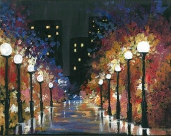 Modern Cityscape Painting - Print to fit 11x14 Frame