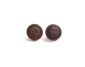 2 Antique Coper Metal Vintage Buttons