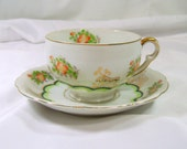 Vintage Ucagco China Tea Cup and Saucer Orange Blossoms Green Scallop Gold Trim Made In Japan