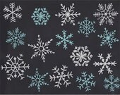 Digital chalk snowflakes, hand drawn chalk snowflakes clip art, snowflake Photoshop brush, royalty-free- Instant Download