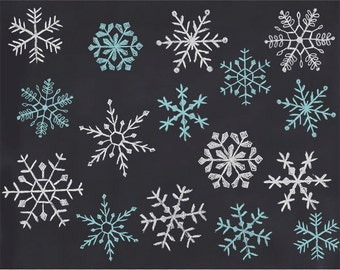 Digital chalk snowflakes, hand drawn chalk snowflakes clip art, snowflake Photoshop brush, royalty-free- Instant Download