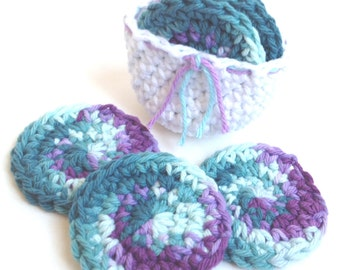 Crochet Scrubbies with Crochet Basket - Set of 7 - For Kitchen or Bathroom - Teal, Aqua, Purple, Lavender - 100% Cotton