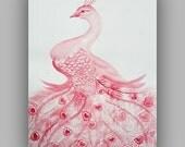 Sale - LOVE - Hearts - Peacock - Original Watercolor Art by Alma Yamazaki 24x18