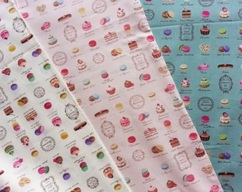 Japanese Cotton Fabric, Yuwa Fabric, Macaron Fabric, Cookie Fabric, Cafe Decor Fabric, Kawaii Fabric, Food Fabric/Mini Patisserie/a yard