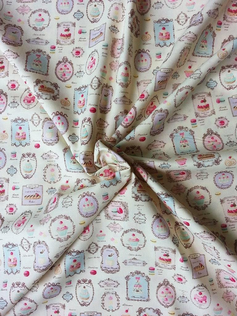 japanese fabric yuwa, macaron fabric, shabby chic fabric, cafe