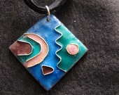 Colorful abstract enamel pendant necklace